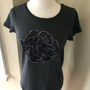 J. Crew dark grey sequin t-shirt